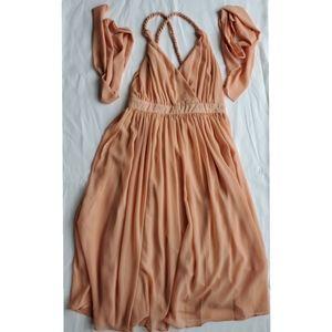 Boohoo Blush (Pink) Chiffon Dress Size 6